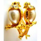 B489 Romantic Love Dude Birds On Gold Stem Valentine Gift Excellent Gift