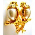 B489 Romantic Love Dude Birds On Gold Stem Valentine Gift Excellent Gift