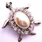 B508  Very Cute Turtle Brooch w/ White Shell Surrounded w/ Clear Crystals