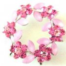 B479  Rose Crystals Flower Brooch Round Flower Crystals Sophisticated Brooch