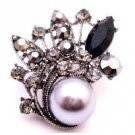 B525  Great Gift Idea Grey Pearls Brooch w/ Black Diamond Crystals Christmas Holiday Gift