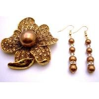 B494  Copper Pearls w/ Gold Shadow & Gold Spacer Match Brooch Sunflower Gift