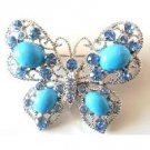 B474  Turquoise Butterfly Aquamarine Crystals Holiday Gift Brooch Pin