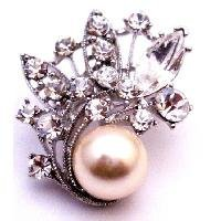 B524  Great Gift Idea Ivory Pearls Brooch With Clear Crystals Employee Christmas Holiday Gift