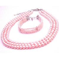 BRD107  Gift Ideas Personalized Occasion Gift Pink Necklace & Bracelet Jewelry