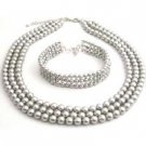 BRD103  Intricate Customize Handmade Magnificient Lite Grey Pearls Jewelry