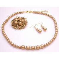 BRD118  Looking For Harvest Color Jewelry Fine Handcrafted Swarovski Pearls