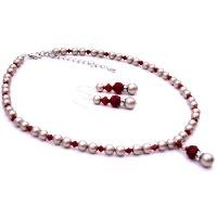 BRD097  New Platinum Champagne Pearls w/ Coral Red Crystals Low Prices