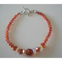 TB071  Fall Jewelery Burnt Orange Crystals Indian Red AB Crystals Bracelet