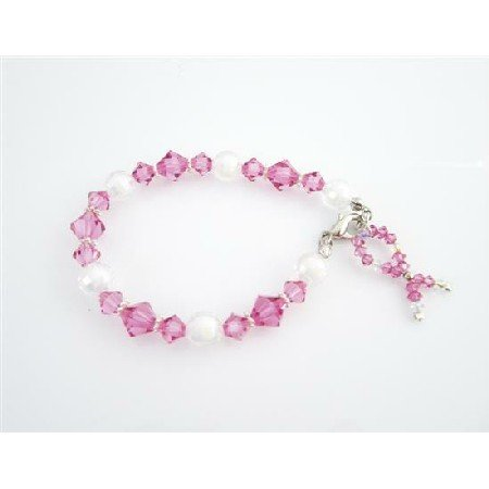 TB975  Breast Cancer Awareness Bracelet Swarovski Crystals Silver Beads