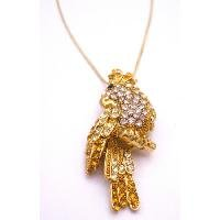 N919 Sparkling Gold Bird Brooch Pendant Embedded W/ Tiny Simulated Diamond & Joquil Crystals