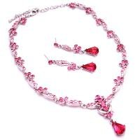 NS960  Innovative Designs Victorian jewelery Rose & Fuschia Crystals Set