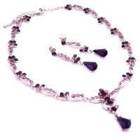NS959  Vintage Silver Crystals Necklace Earrings Set Lite & Dark Amethyst