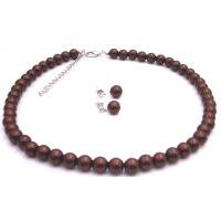 NS957  Chocolate Brown Chocolate Pearls Jewelry Affordable Wedding Set