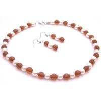 NS956  Handmade Jewelry Custom White Pearls Smoked Topaz Chinese Crystals