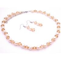 NS955  Wedding Jewelry Ivory Pearls Chinese Lite Colorada Crystals Bridemaids Set