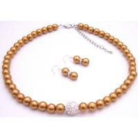 NS943  Nickle Free Beautiful Necklace w/ Pave ball CZ Copper Gold Pearls Set