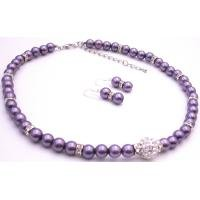 NS940  Pave Ball CZ Pendant Purple Pearls Silver Rondells Necklace Earrings