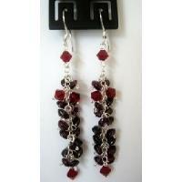 ERC102  Sterling Silver Chandelier Earrigns Garnet & Siam Red Crystals Beads