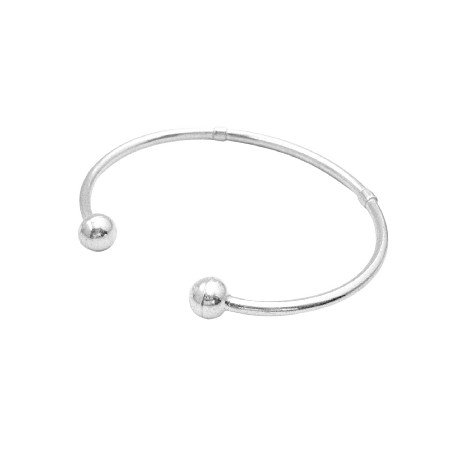 BR114  Sterling Silver Ball Ends Cuff Bracelet Mother Gift