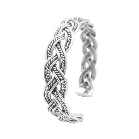 BR113  Solid Sterling Silver Twisted Wire Cuff Bracelet Gift To Men Or Women
