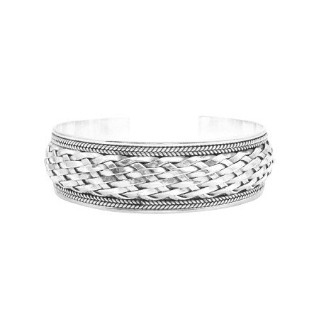 BR112  Sterling Silver Woven Solid Sterling Silver 925 Bracelet
