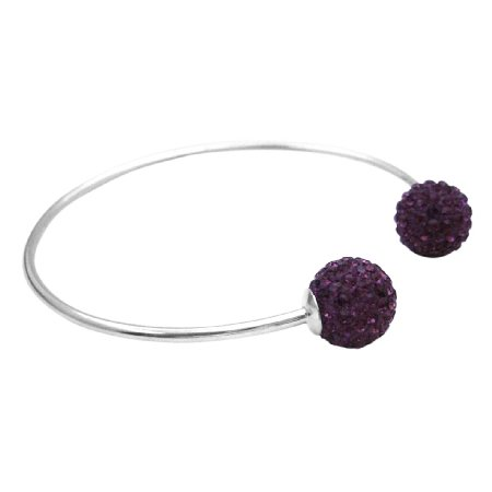 BR110  Solid Sterling Silver 92.5 Bangle Amethyst Crystals Ball Mother Gift
