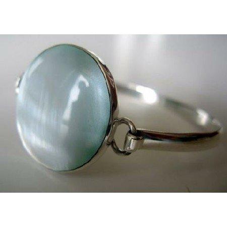 BR061  Blue Mother Of Pearls Genuine Sterling Silver 92.5 Bangle Bracelet