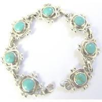 BR084  Sterling Silver 925 Turquoise Bracelet Genuine Sterling Silver Bracelet
