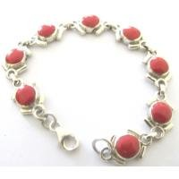 BR087  Coral Stone Sterling Silver 92.5 Bracelet