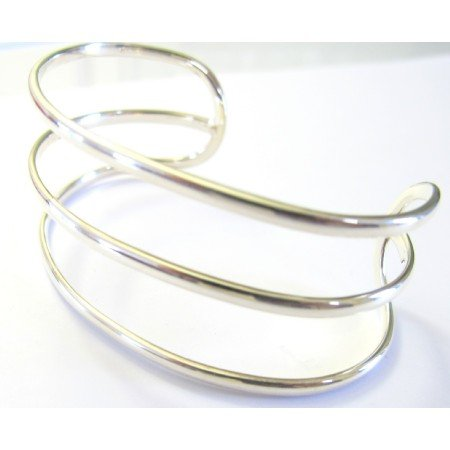 BR073  Row Sterling Silver Cuff Bracelet Sterling Silver 92.5 Bangle Bracelet