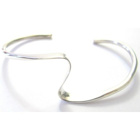 BR105  Single Layer Sharp Curves Wavy Design Bracelet Sterling Silver Cuff Wavy Bracelet