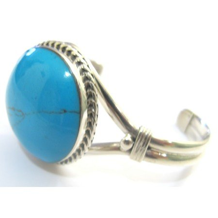 BR080  Sterling Silver Turquoise Cuff Bangle Bracelet w/ Engraved Turquoise Stone Bracelet