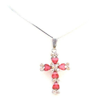 UNE292  Beautiful Necklaces at Amazing Prices Pink Cross Pendant Christmas Gift