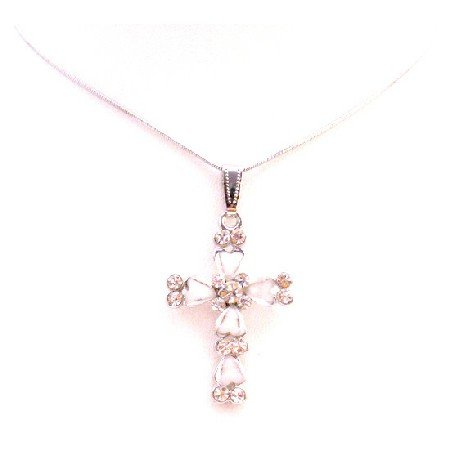 UNE290  Cross Pendant White Enamel With Sparkling Diamante Embedded