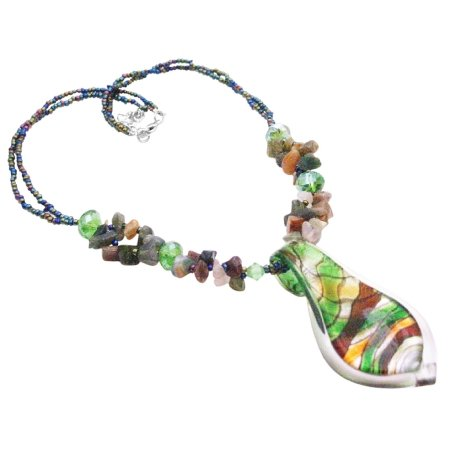 N915  Gift Murano Glass Pendant Multicolor Gorgeous Shiny Pendant Necklace