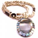 N909  Confetti Oval Shell Pendant With Mother Of Pearls Embedded Focal Pendant Jewelry