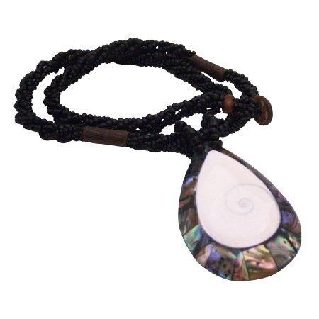 N907  Abalone Shiva Eye Teardrop Pendant Necklace Abalone Pendant In Black Beaded Necklace Gifts