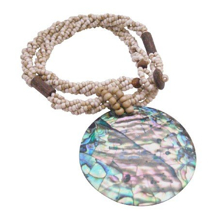 N906  Abalone Pendant In Beige Beaded Necklace Personalized Gifts New Year Party Jewelry