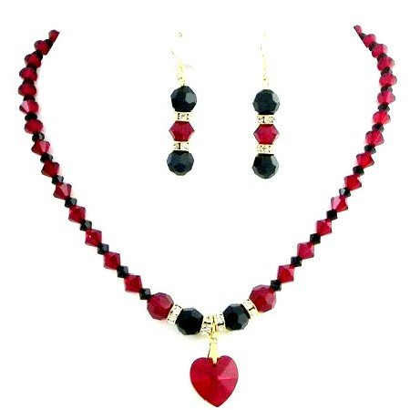 BRD147  Shop Romantic Jewelry Hottest Item Swarovski Siam Red & Jet Crystals