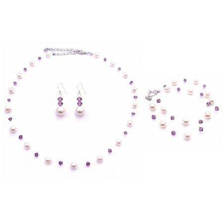 BRD868 Amethyst Swarovski Crystals w/Ivory Pearls Necklace Set & Double Stranded Bracelet Jewelry