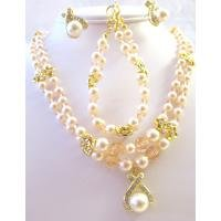 BRD803  Ivory Pearls & Peach Swarovski Crystals Pearls Double Stranded Necklace Set