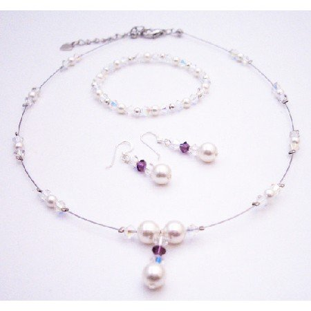BRD539  AB Swarovski Crystals w/ Amethyst & White Pearls Drop Down Bridal Jewelry Set