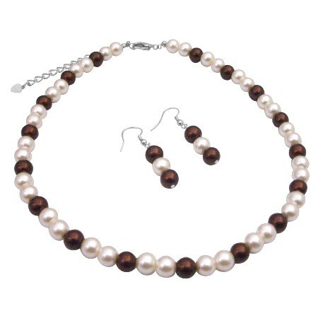 UNS052  Inexpensive Wedding Bridemaids Jewelry Set Burnt Brown & Ivory Pearls Jewelry Pearls Set