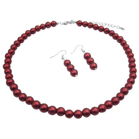UNS030  Red Pearls Necklace Set Wedding Jewelry Bridemaids Red Pearls Necklace Earrings Set