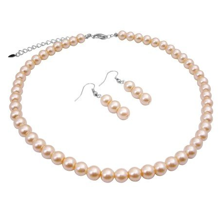 UNS013  Good Quality Synthetic Peach Pearls Choker Necklace Set 16 Inches w/ Dangling Earrings