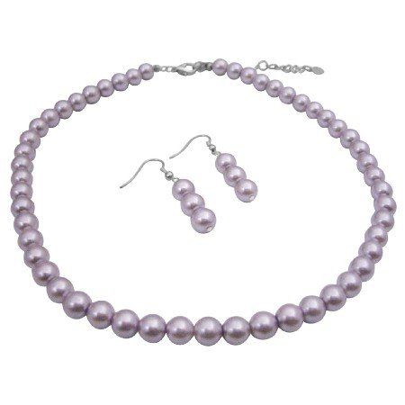 UNS016  Pearls Bead Jewelry Set Purple Lavender Beautiful color Necklace Set