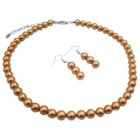 UNS015  New Color Golden Pearls Neckalce & Earrings Jewelry Set