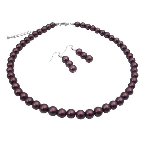 UNS004  Purple Synthetic Pearls Jewelry Necklace Set