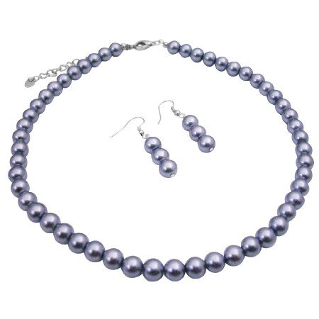 U219  Beautiful Grey Pearls Neclace Set